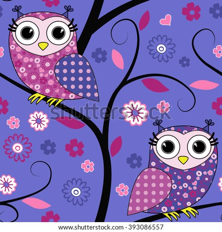 Vector seamless pattern with owls on a tree. Blue. - stock vector