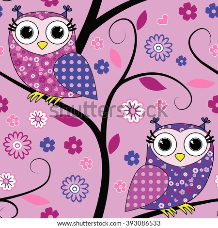 Vector seamless pattern with owls on a tree. Pink. - stock vector