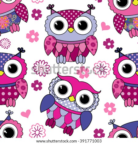 Vector seamless pattern with owls. White, violet, pink.   - stock vector