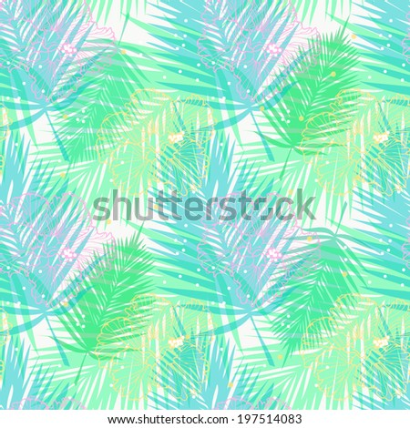 vector seamless pattern with palm leaves and flowers - stock vector
