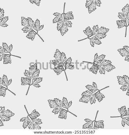 Vector seamless pattern with parsley . Hand drawn illustration. - stock vector