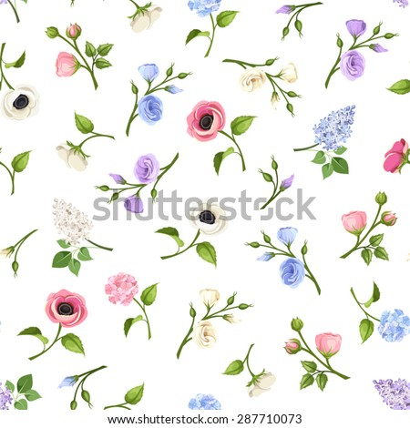 Vector seamless pattern with pink, blue, purple and white lisianthuses, anemones, lilac and hydrangea flowers on a white background. - stock vector
