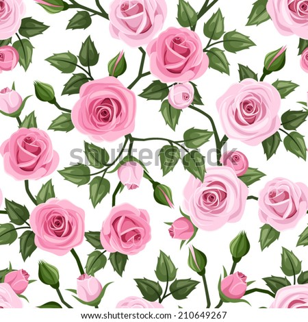 Vector seamless pattern with pink roses and green leaves on a white background. - stock vector