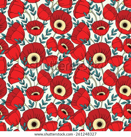 Vector seamless pattern with poppies. Floral background - stock vector