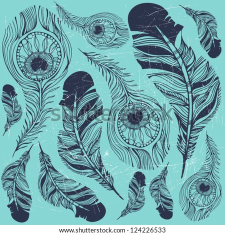Vector seamless pattern with raven's and peacock's feathers. - stock vector