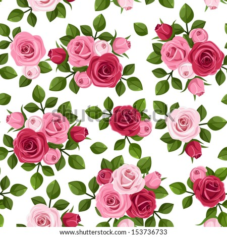 Vector seamless pattern with red and pink roses on white.  - stock vector