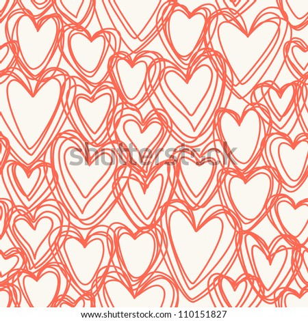 Vector seamless pattern with red hearts of doodles. Romantic background Valentines Day's and wedding in hand drawn style. Abstract ornamental illustration for print and web - stock vector