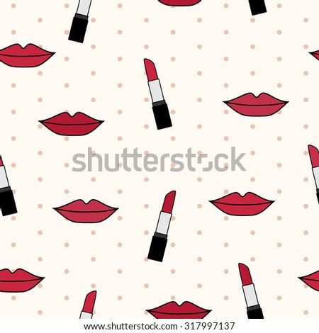 Vector seamless pattern with red lips and lipsticks on beige background with polka dot - stock vector