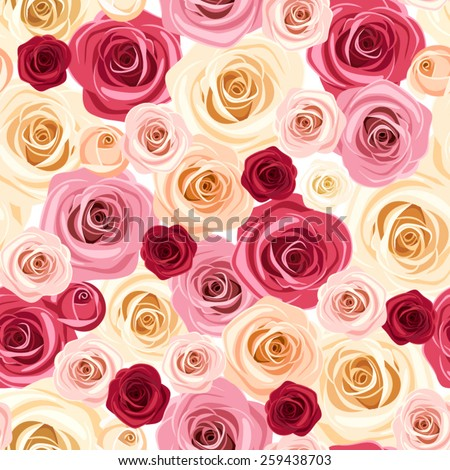 Vector seamless pattern with red, pink, orange and white roses. - stock vector