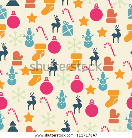 Vector seamless pattern with retro Christmas icons. - stock vector
