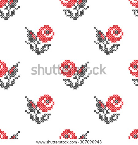Vector seamless pattern with rose flowers. Traditional elements of Ukrainian embroidery in red and black colors. Stylized embroidery made with cross-stitches. - stock vector
