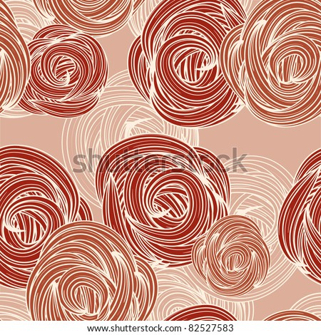 vector seamless pattern with roses - stock vector