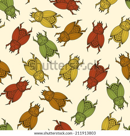 Vector seamless pattern with  scarab beetles, fully editable eps 10 file with clipping mask and seamless pattern in swatch menu - stock vector