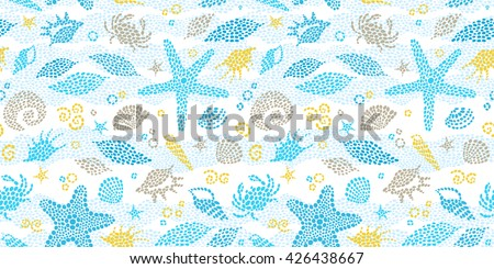 Vector seamless pattern with sea element, crabs, seashells. Ornate maritime decor from drops. Spotty sea background for wallpaper, pattern fills, web page, surface textures. Marine life. - stock vector