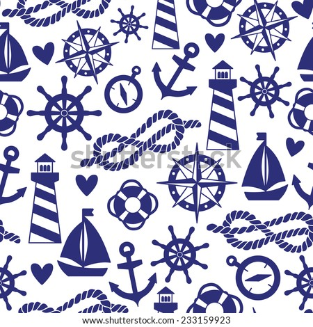 Vector seamless pattern with sea elements: lighthouses, ships, anchors, wind rose. Can be used for wallpapers, web page backgrounds. - stock vector