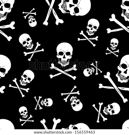 vector seamless pattern with skulls and bones on black background - stock vector