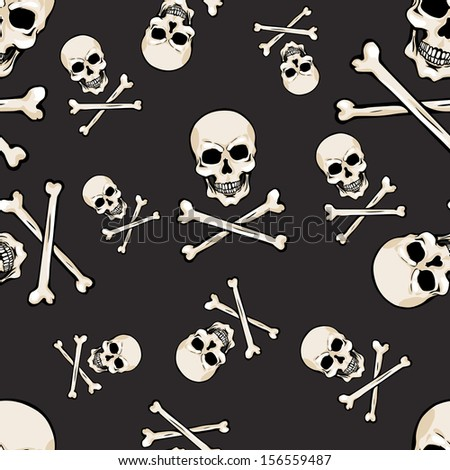 vector seamless pattern with skulls and bones on dark background - stock vector