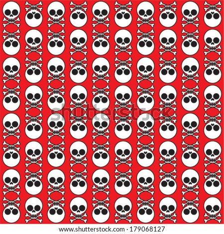 vector seamless pattern with skulls and bones red background  - stock vector