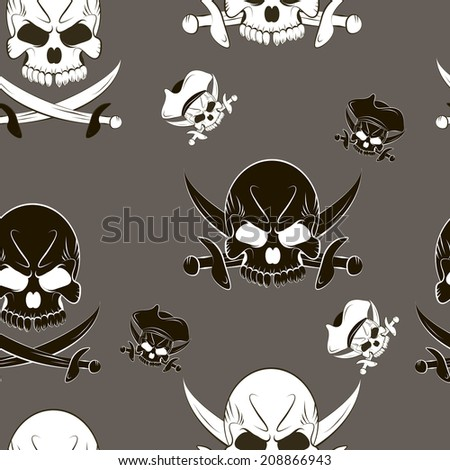 Vector Seamless pattern with skulls and pirate sword  - stock vector