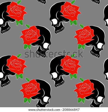Vector Seamless pattern with skulls and rose gray background - stock vector