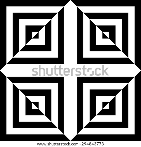 Vector seamless pattern with squares,Modern textile print with illusion, Black and white tile , Symmetrical repeating background - stock vector