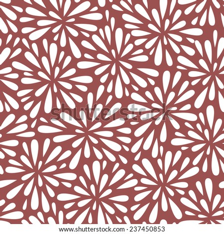 Vector seamless pattern with stylized flowers or fireworks. Modern repeating texture. Monochrome floral design. Contrast ornament in trendy color Marsala - stock vector