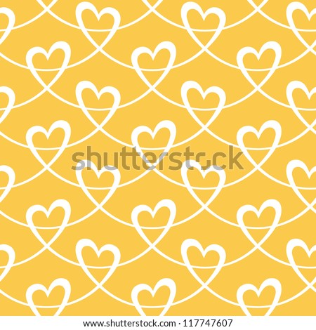 Vector seamless pattern with stylized hearts of white ribbons. Romantic gold decorative graphic background Valentines Day's, wedding, Christmas. Simple drawing ornamental illustration for print, web - stock vector