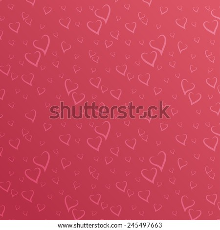 Vector Seamless Pattern with Stylized Hearts. Romantic Simple Background - stock vector