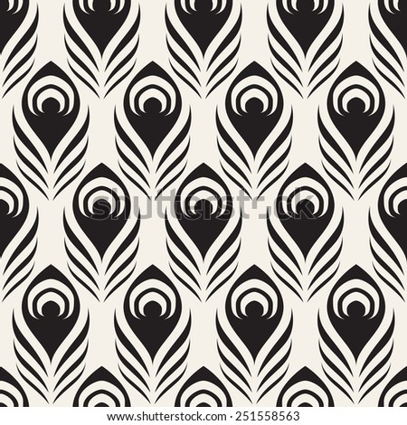 Vector seamless pattern with stylized peacock feather. Monochrome elegant background - stock vector