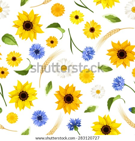 Vector seamless pattern with sunflowers, cornflowers, daisies, gerbera flowers, green leaves and ears of wheat on a white background. - stock vector