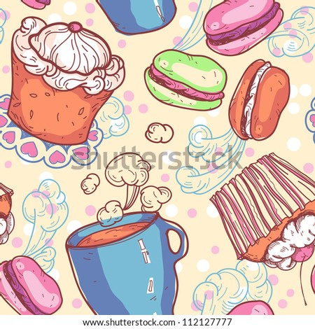 vector seamless pattern with sweets and cups of tea - stock vector