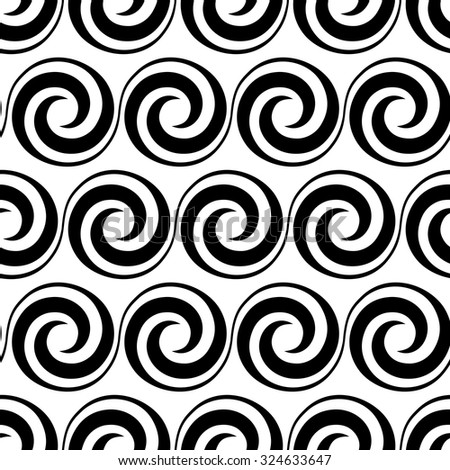 Vector seamless pattern with swirl element. Geometric vintage ornament. Black and white decorative illustration for print, web - stock vector