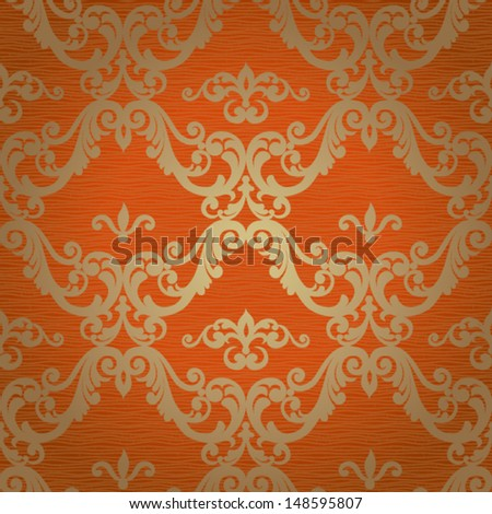Vector seamless pattern with swirls and floral motifs in retro style. Victorian style. - stock vector