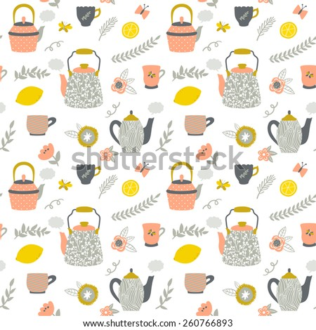 Vector seamless pattern with teapots, cups, lemon, flowers, branches. Hand drawing vintage texture. Retro tea background. - stock vector