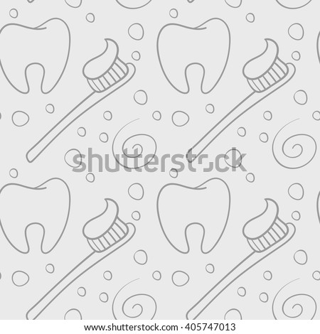 Vector seamless pattern with teeth an toothbrushes. - stock vector