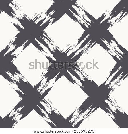 Vector seamless pattern with thin rhombuses. Abstract background made using of brush smears. Monochrome hand drawn texture - stock vector