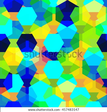 Vector seamless pattern with transparent sparkling pentagons and hexagons. EPS8. Color palette inspired by colors of a peacock's tail - stock vector