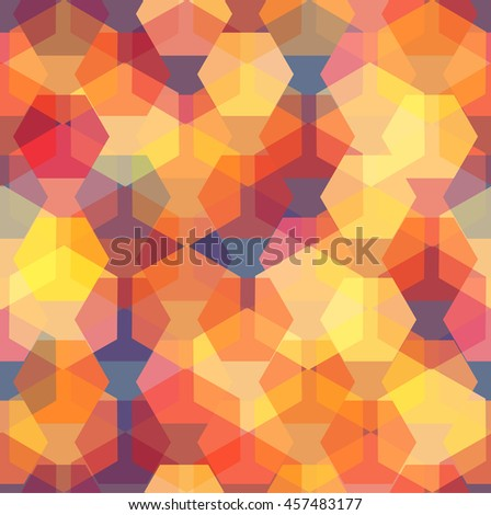 Vector seamless pattern with transparent sparkling pentagons and hexagons. EPS8. Color palette inspired by beautiful sunset sky - stock vector