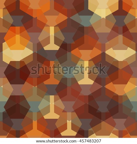 Vector seamless pattern with transparent sparkling pentagons and hexagons. EPS8. Color palette inspired by rusty iron.  - stock vector