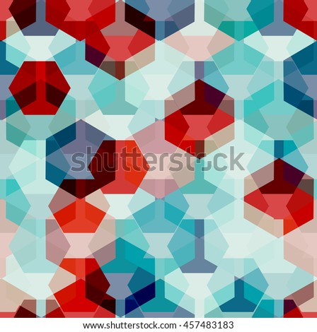 Vector seamless pattern with transparent sparkling pentagons and hexagons. EPS8. Turquoise and red color palette - stock vector
