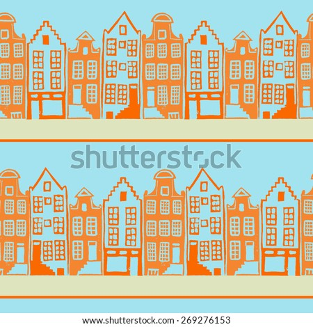 Vector seamless pattern with typical Amsterdam houses along the canal. Hand linocut illustration with bright colors - stock vector