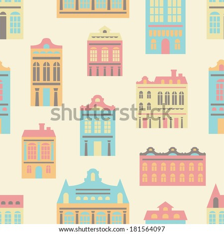 vector seamless pattern with various pastel European houses - stock vector