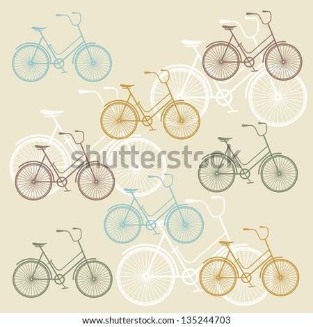 Vector seamless pattern with vintage bicycle silhouettes - stock vector