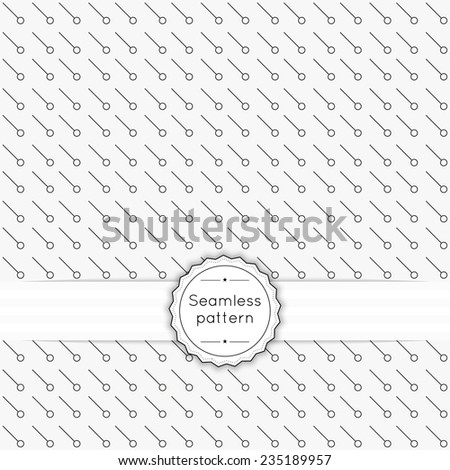 Vector seamless pattern with vintage old banner and ribbon. Repeating Geometric shapes, circle, diagonal line, dot - stock vector