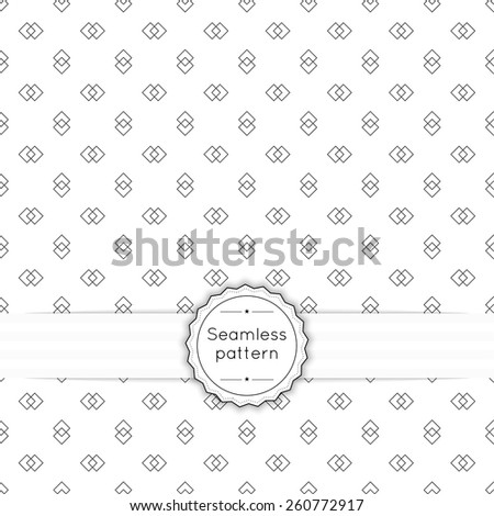 Vector seamless pattern with vintage old banner and ribbon. Repeating geometric shapes,  line, arrow,  rhombus, diamond - stock vector