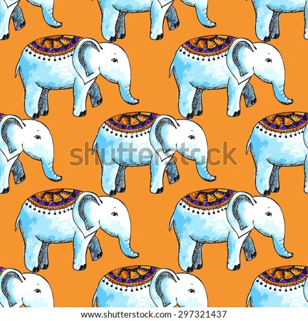 vector seamless pattern with watercolor elephant - stock vector