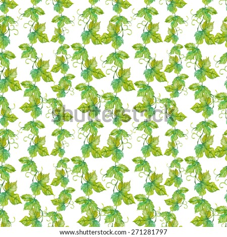 Vector seamless pattern with watercolor grape leaves - stock vector