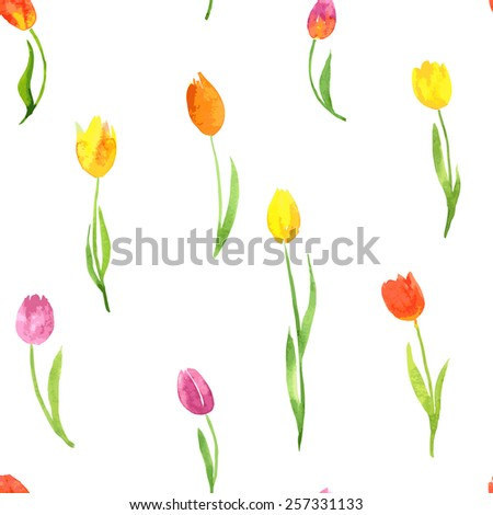vector seamless pattern with watercolor tulips, hand drawn vector illustration - stock vector