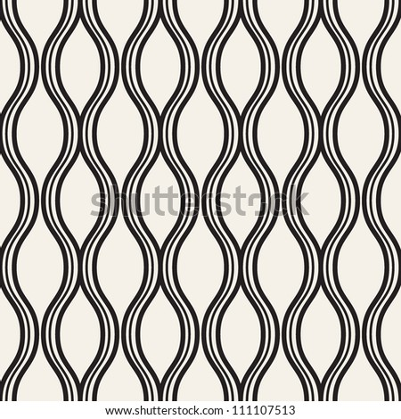 vector seamless pattern with wavy stripes. modern stylish texture. repeating monochrome background - stock vector