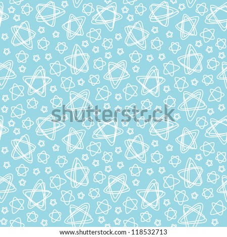 Vector seamless pattern with white stars of doodles. Abstract light blue ornamental background. Simple illustration with stylized sky in childish hand drawn style. Decorative texture for print, web - stock vector